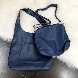 Joy Susan Molly Classic Hobo 2-in-1 Handbag Navy